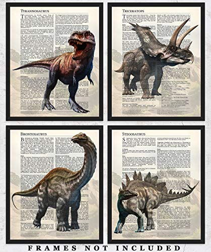 Dinosaur Wall Art Decor Prints: Set of Four 8x10 Unframed Pictures - Unique Room Decor for Boys, Girls, Men & Women Makes A Great Educational Gift for all ages for Under $20!