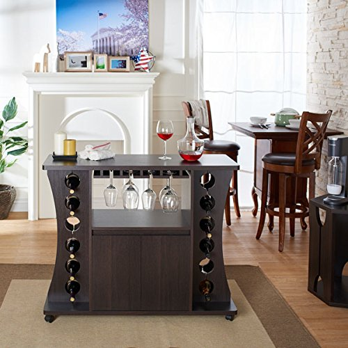 Furniture of America Tiko Modern Espresso Buffet with Wine Rack
