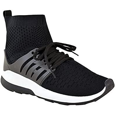 a8bd697a22f8e Fashion Thirsty Womens Ladies Trainers Sneakers Sock Runners Comfy Speed  Knit Gym Shoes Size