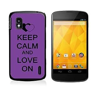Keep Calm And Love On Purple Google Nexus 4 Case - For Nexus 4
