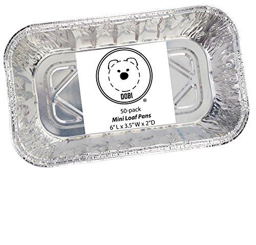 DOBI Mini Loaf Baking Pans - Disposable Aluminum Foil small Bread Tins, 6'' X 3.5'' X 2'' (Pack of 50) by DOBI (Image #1)