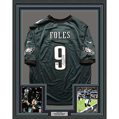 Framed Autographed/Signed Nick Foles 33x42 Philadelphia Eagles Nike Green Football Jersey Fanatics Authentic COA (Green Signed Eagles Jersey)