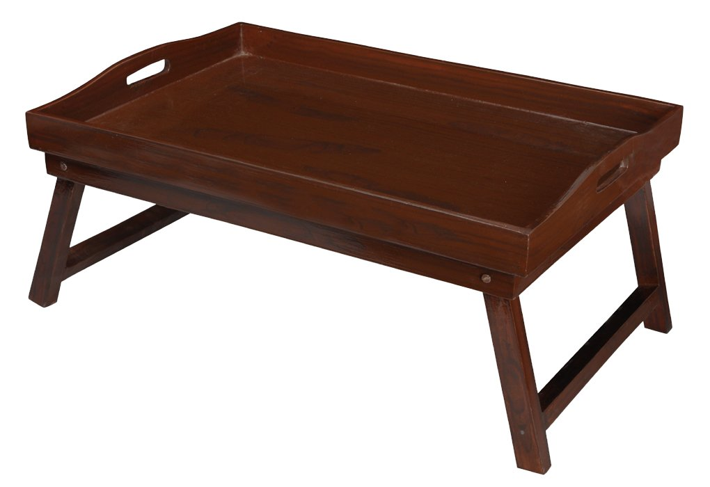 Brown Breakfast Serving Bed Tray With Folding Legs
