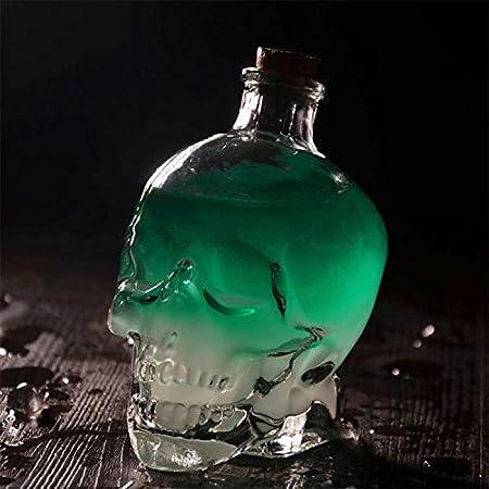 Botella del cráneo de los decantadores del licor,Decantador de cráneo,Jarrón creativo,Botella de vino de cristal,Botella de whisky,Jarra de vino jarra,Botellas de vidrio de 750 ml,Glass Kettle 25.6 OZ