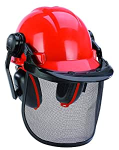Einhell BG-HH 1 - Casco seguridad con protección auditiva (máscara ajustable) color rojo