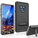 XBK Samsung Galaxy Note 9 Waterproof Case, Support Wireless Charging Shockproof Snowproof Dirtproof Case with Kickstand for Samsung Note 9 (Black)
