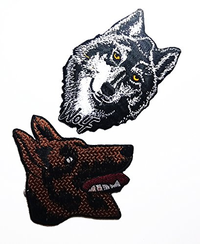 Shepherds Costume Diy (PP patch Set 2 WOLF patch , German Shepherd Alsation Dog patch DIY Applique Embroidery Iron on Patch)