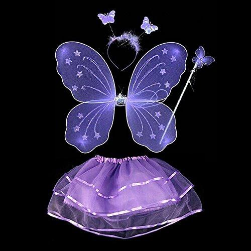 Purple Butterfly Costume Toddler (BOBORA Fairy Girl Butterfly Wing Wand Headband Tutu Skirt Halloween Costume Set (Purple-2))