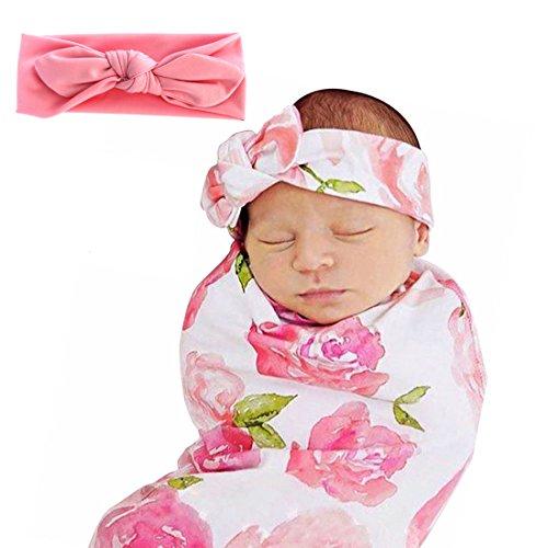 Single Idol Receiving Blanket Headband Newborn Swaddle Blanket Baby Wrap Swaddle Blanket Pink Flower Print for (Loving Baby Swaddle Blanket)
