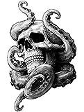 Tentakel Skull Aufkleber Krake Schädel Totenkopf Tattoo ca. 13x9 cm