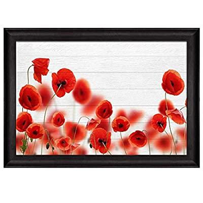 Alluring Creative Design, Red Poppy Field Over White Wood Panels Nature Framed Art, Made With Top Quality
