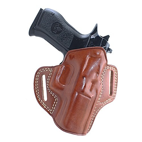 MASC Leather Pancake Holster (OWB) with Open TOP for Baby Desert Eagle III. 9/40SW Full Size Polymer 4.43''BBL R/H Draw, Brown Color #1234# (Baby Desert Eagle Holster)