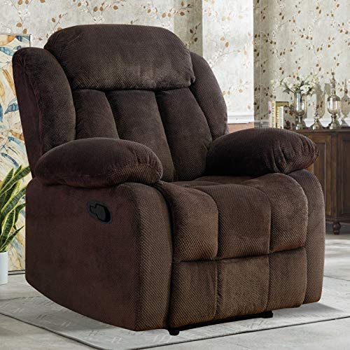 ANJ HOME Fabric Recliner Chair for Living Room Lounge Chair Dark Brown