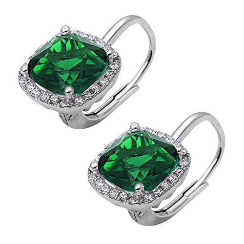 Halo Leverback Earrings Cushion Simulated Green Emerald Round Cubic Zirconia 925 Sterling - Earrings Peridot Heart Crown