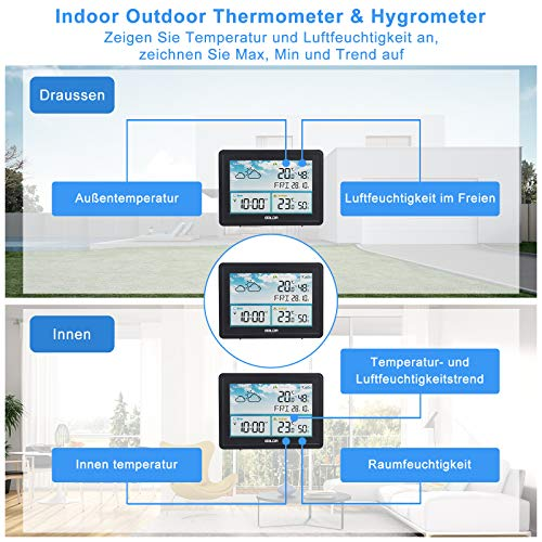 ZAERM Farb Wetterstation mit Außensensor, Innen und Außen Digitale Hygrometer Thermometer, Multifunktionale Funkwetterstation mit Temperatur, Luftfeuchtigkeit, Wettervorhersage, Wecker und Mehr