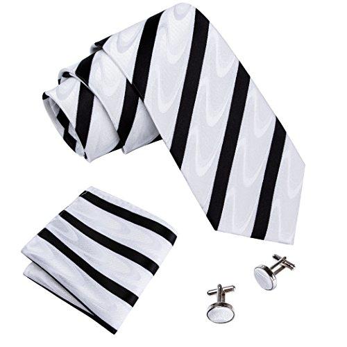 Barry.Wang New Classic Striped Men's Necktie Set Woven Silk Ties