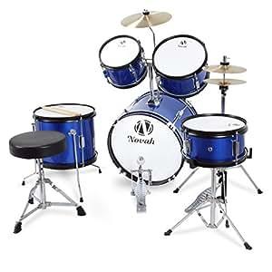 novah premium 5 piece junior drum set starter kit with stool blue musical instruments. Black Bedroom Furniture Sets. Home Design Ideas