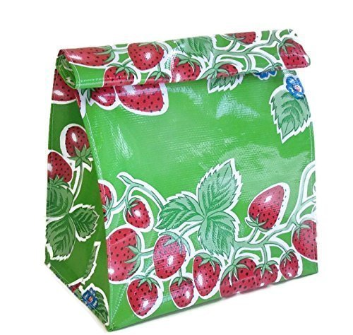 Green Oilcloth Handmade Lunch Bag Snack Bag Storage Bag Strawberry Floral theme by Philly Artful Home
