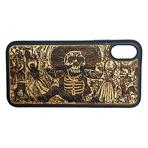 Day of The Dead Case for iPhone XR by iMakeTheCase | Eco-Friendly Bamboo Wood Cover + TPU Wrapped Edges | Mexican Calavera Oaxaqueña Catrina | Dia De Los Muertos Sugar Skull