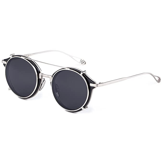 264ec22a11 Dollger Clip On Double Lens Round Sunglasses Steampunk Mirrored Sunglasses