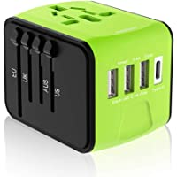 Ougrand Universal Travel Power Plug Adapter with 3.4A 3 USB & 1 Type-C (Green)