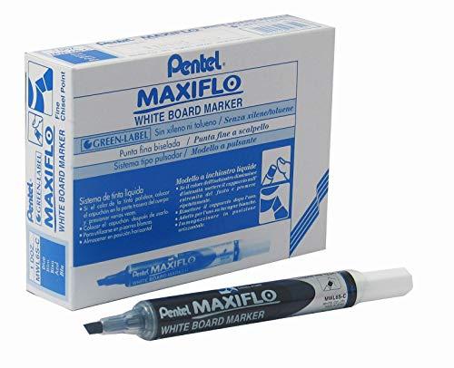 (Pentel Maxiflo Dry Wipe Fine Chisel Point Marker - Blue - Single pen)