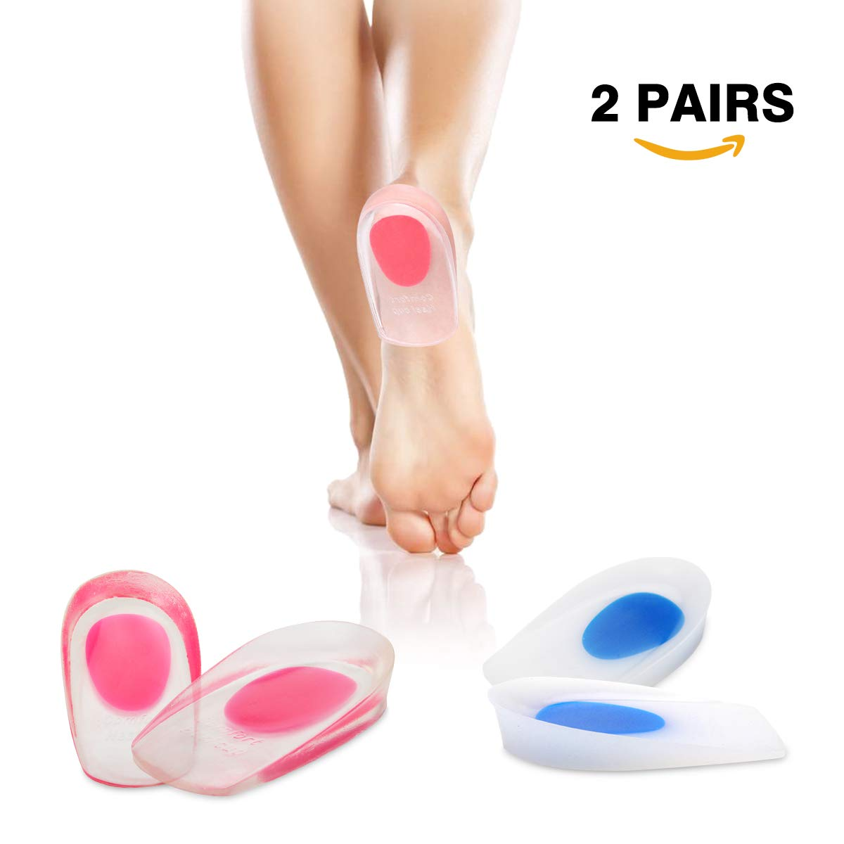 HLYOON H11 Silicone+PU GEL Heel Cups - for Heel Spur, Plantar Fasciitis and Heel Pain Relieve, - 2 Pairs
