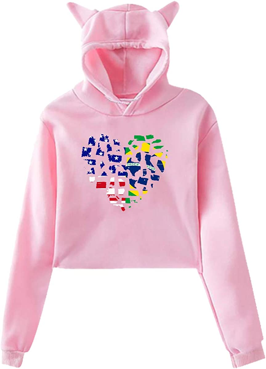 Womens Girls Cat Unicorn Pullover Hoodie Colombia Flag in Heart Shape Crop Top Sweatshirts