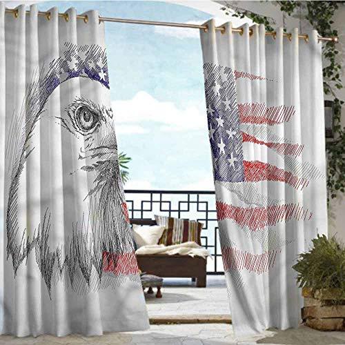Exterior/Outside Curtains 4th of July,Bald Eagle Portrait,W96 xL84 Silver Grommet Top Drape