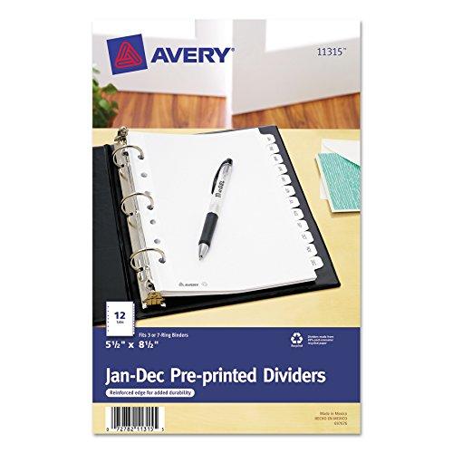 White 8.5 Dividers (Avery 11315 Preprinted Tab Dividers, 12-Tab, 8 1/2 x 5 1/2)
