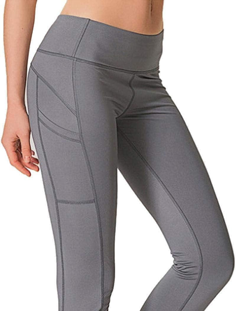 Mandii Women Fashion Natural Elastic Waist with Pocket Fitness Yoga Leggings Active Leggings