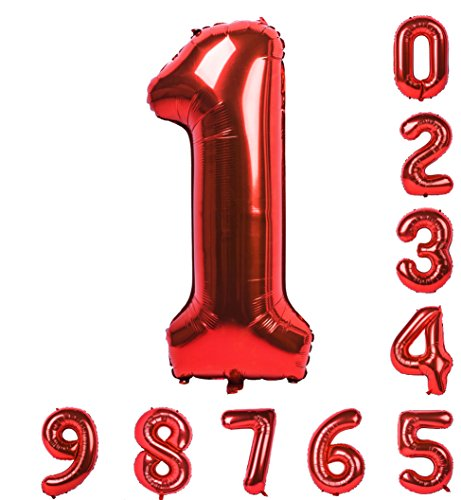Gold treasure 40 Inch Balloons 0-9(Zero-Nine) Red Numbers Mylar Birthday Party Decorations of Arabic Numerals 1
