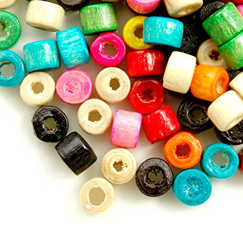 Fashion 1200pcs Center Drilled Dyed Wood Donut Beads Color Assorted Bead Size 4.0-5.9mm Hole Size 1.0-1.9mm - Drilled Donut