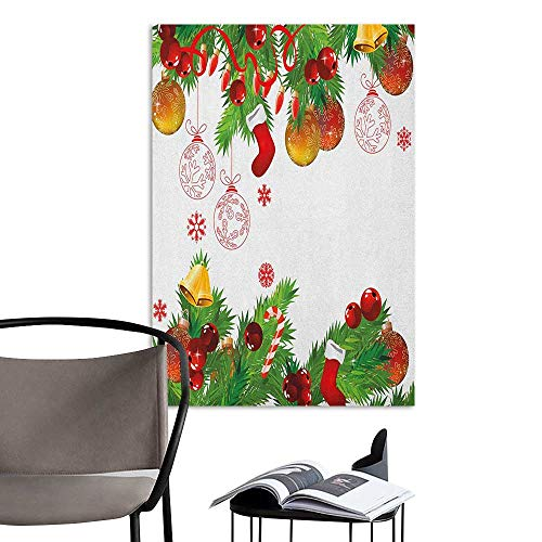 Canvas Wall Art New Year Fir Branches Pattern New Year Elements Colorful Baubles Socks and Candy Canes Multicolor Landscape Scenery Painting W32 x H48