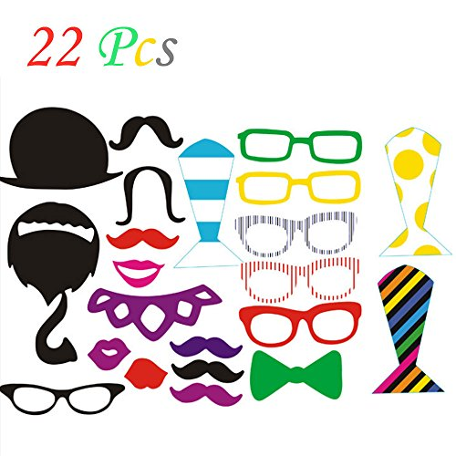 22 Pcs DIY Colorful Photo Booth Props On A Stick Mustache Bearded Lips For Fun Wedding Favor Christmas Birthday Party Favor