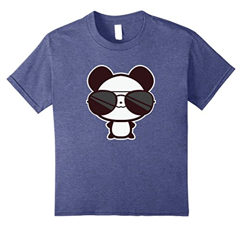 Kids Cute Panda With Cool Sunglasses Tee - Kawaii Chibi Panda 12 Heather - Sunglasses Kawaii