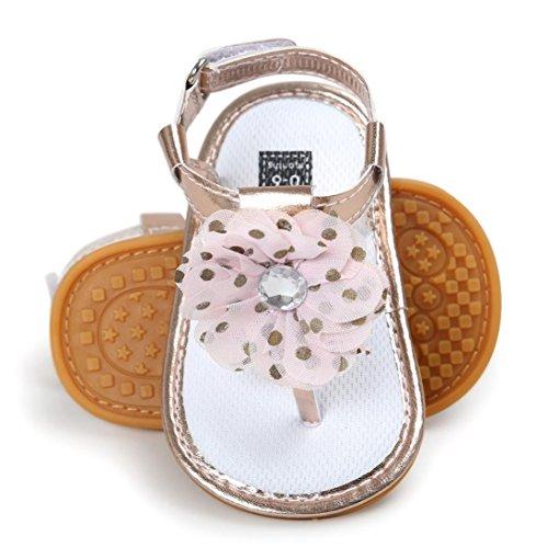 sandalias nina verano baratas Switchali Recién nacido zapatos bebe niña primeros pasos con suela blanda princesa Zapatos floral Sandalias de vestir niña playa Zapatillas Oro