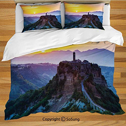 Tuscan Decor Queen Size Bedding Duvet Cover Set,Old Historic Castle and Town on Top of The High Hills in Italian Renaissance at Sunset Print Decorative 3 Piece Bedding Set with 2 Pillow Shams,Multi ()