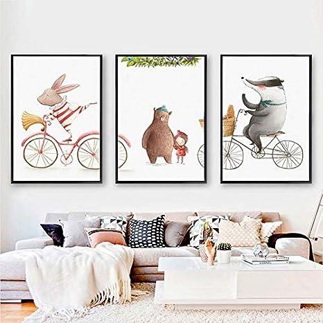 ZSHSCL Impresión En Lienzo Pintura 3 Piezas 3 Piezas Animales Conejo Cerveza Pinturas En Lienzo Cuadros Infantiles Pink Prints Arte De La Pared Cuadros para La Decoración De Las Habitaciones De Los N