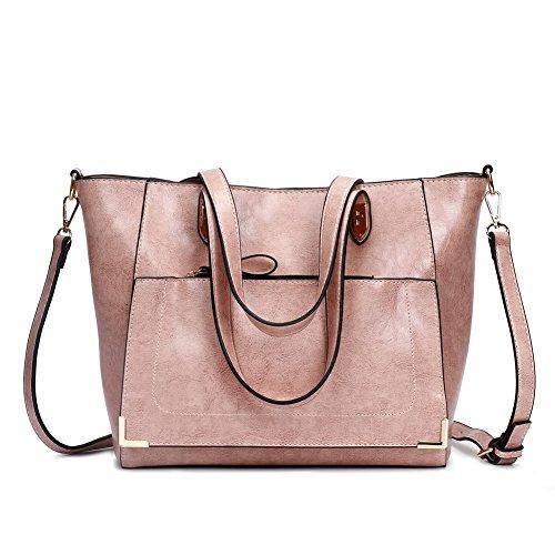 Voguezone009 Zippers Handbags Women Pu Casual Fashion Shoulder Bags, Pink Ccaybp180761