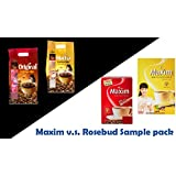 Korean Rosebud and Maxim Original / Mocha Instant Coffee Mix Sample Pack (20 Sticks)