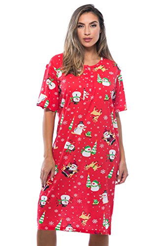 Just Love 4360-10003-2X Short Sleeve Nightgown Sleep Dress for Women Sleepwear, Red - Holiday Friends, 2X Plus