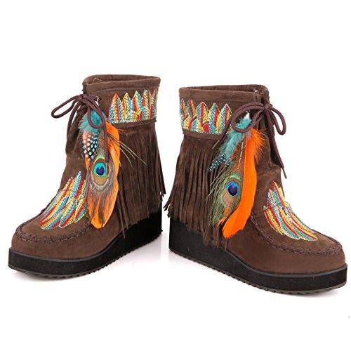 Chaussures Femmes Rtro Bottes Neige Artfaerie Lacets Chaudes Avec Pour Compenss Marron Broderies Talons wBIvHE
