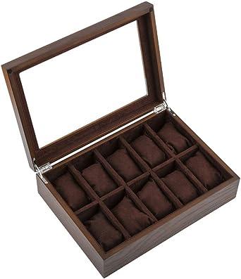 Caja De Relojes, Madera Estuche para Reloj Caja De Almacenamiento, Tapa De Cristal, Exhibición Organizador De Relojes (Color : B): Amazon.es: Relojes