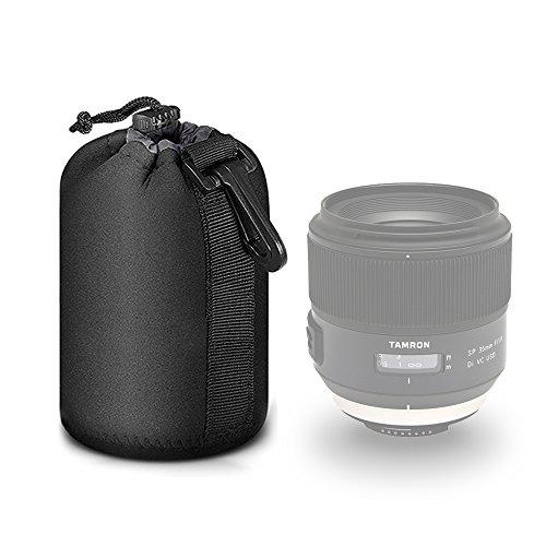 Selens Black Protective Drawstring Soft Neoprene DSLR Camera Lens Pouch Bag for Sony Canon Nikon Pentax Olympus Panasonic, Medium Size ()
