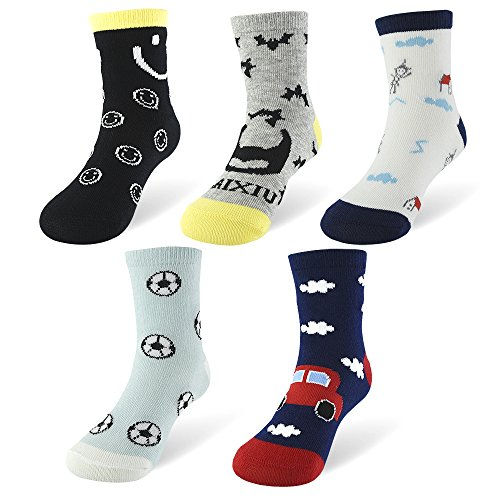 SLAIXIU 5-Pack Cotton Cute Kids Socks for Boys Girls 7-Styles for 1-10 Year Olds