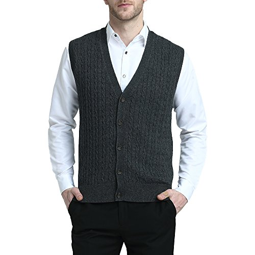 Kallspin Relaxed Fit Mens Cable Stripe V Neck Vest Sweater Cashmere Wool Blend Front Button (Charcoal, XXL)
