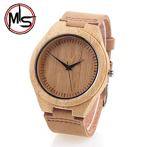 Bamboo Watch outdoor for men/ woman with Leather Strap Bamboo Wooden Wristwatch gift Mothers/Fathers Day Promotion! by MY'S (Brown)