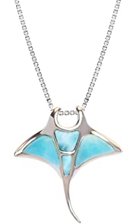 Sterling Silver Larimar Manta Ray Necklace Pendant With 18