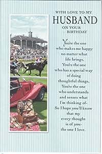 Tarjeta de cumpleaños Husband~con Love To My Husband On Your Birthday~caballo racing y diseño de coche deportivo